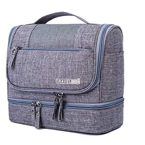 Dpower Borsa cosmetica grande custodia per uomo e donna appesa borsa da viaggio, materiale resistente e impermeabile, adatta per viaggi di vacanza in famiglia (grigio)