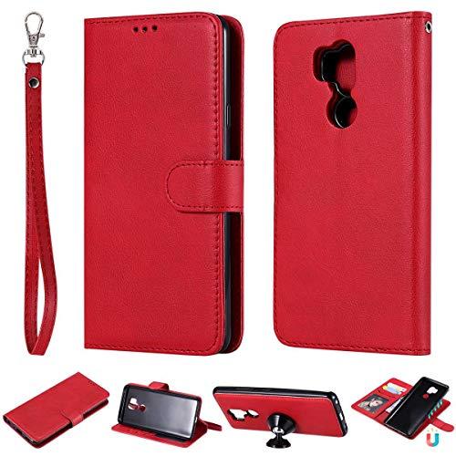 JEEXIA® Schutzhülle Für LG G7 ThinQ / G7 Fit / G7 One, Magnetisch Abnehmbar PU Lederhülle Flip Cover Brieftasche Innenschlitzen 2 in 1 Handy-Hülle (ohne Saugnapf) - Rot