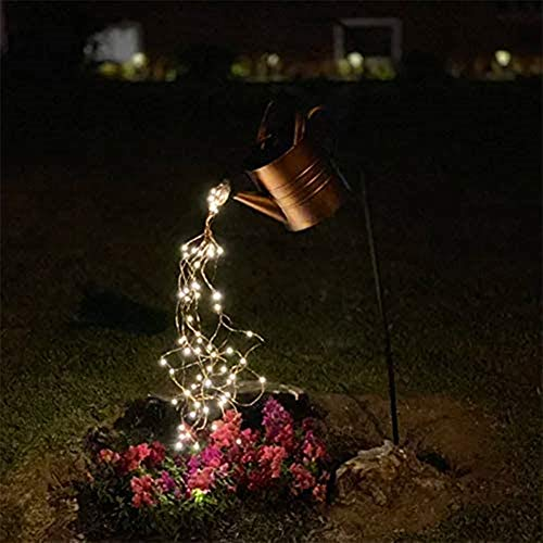 Star Shower Garden Art Light Decoration LED Lamp, LED Fairylights Warm White Light, Garden Stake Light for Yard Garden, Button Battery Powered, Durable (Without Bracket)