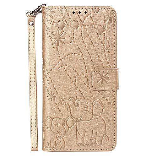 vingarshern Hülle für Huawei Honor Play 8A Schutzhülle Klappbares Flip Lederhülle Magnetverschlüsse Schutztasche Etui Honor Play 8A Hülle Leder Brieftasche,Elefant-Golden MEHRWEG