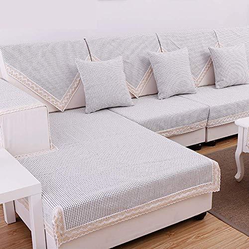 Jonist Funda de sofá de Lino de algodón, Antideslizante, Todo Incluido, sofá seccional, Cuatro Estaciones, Universal, en Forma de L Simple para Sala de Estar-b 70x150cm (28x59inch)