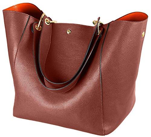 SQLP Damen Leder Taschen Fashion Große Kapazität Henkeltaschen College Student Schultasche Handtasche für Damen Schultertaschen Shopper Tasche-Kaffee