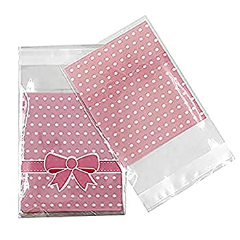 300 Pcs 3.2 x 3.8 inches Cute Self-adhesive Gift Food Packing Bags Small Biscuit Bags Candy Bag OPP Bag Package Supplies  Pink
