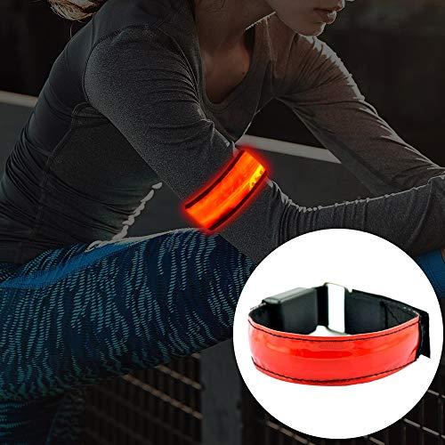 Qiuge Reflektierende Sicherheitsgurt Illuminated Armband for die Sicherheitsbeleuchtung Sport Armband und Armband reflektierenden Streifen mit LED-Blitz for Laufen, Joggen, Outdoor-Sportarten und Akti