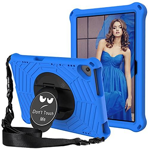GOZOPO Funda Niños Compatible con Lenovo Tab M10 HD TB-X605F/ TB-X505F, para Lenovo M10 FHD REL TB-X605FC Funda con Soporte Rotación de 360° / Correa Hombro Antichoque Funda (Blue)