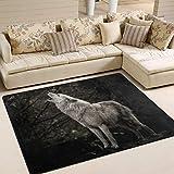 Use7 Teppich, Motiv Wald und Wald, mit hellem Wolf, für Wohnzimmer, Schlafzimmer, Textil, multi, 203cm x 147.3cm(7 x 5 feet)
