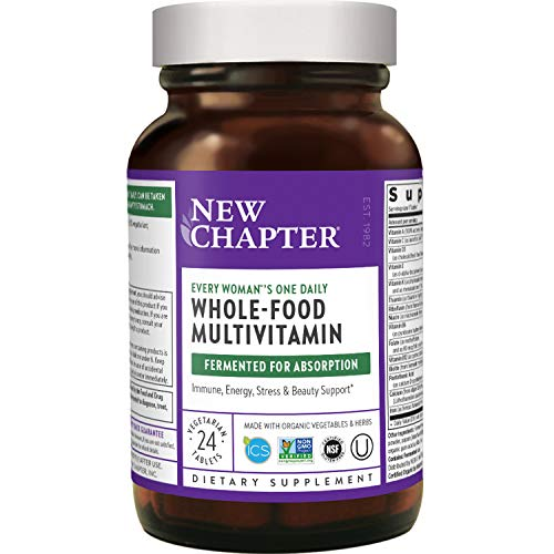 New Chapter Women's Multivitamin + Immune Support – Every Woman's One Daily, Fermented with Whole Foods & Probiotics + Iron + B Vitamins + Organic Non-GMO Ingredients - 24 Count (Packaging May Vary)