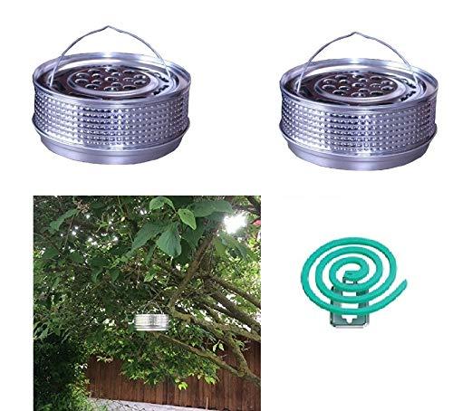 Hs24store 2X Metalltopf Halter Silber für Anti Mückenspirale wie Tontopf +20 Spiralen