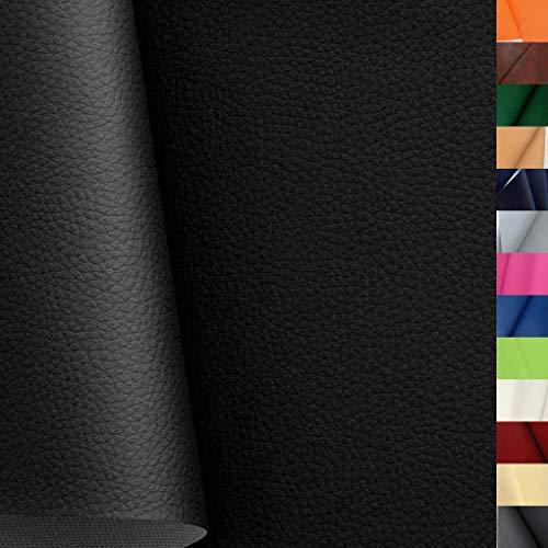 TOLKO Lederimitat mit Rindsleder Optik | weiche PREMIUM Meterware | für Stuhl Bank Sessel Sofa Sitzbezug 140cm breit | Kunstleder Bezugstoff Polsterstoff Polsterbezug Möbelstoff (Schwarz)