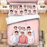 DIYHMH BTS Bedding Sets 3D Bed Set 3Pcs Duvet Cover Full Size Bedroom Decor for Boys Girls Adult Kpop Gift 1 Quilt Cover + 2 Pillowcases (No Comforter) Full