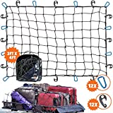 3'x4' Super Duty Cargo Net, Bungee Net Stretches to 6'x8' for Oversized Rooftop Cargo Rack | 12 Tangle-Free Steel Carabiners + 12 Hooks | 3.5'x3.5' Grid Holds Small & Large Loads Tighter