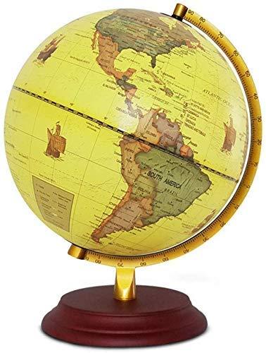 FACAIA 10 Inch Vintage World Globe Retro Decorative Desktop Globe Rotating Earth Geography Globe Wooden Base Educational Globe for Kids Gift World Globe