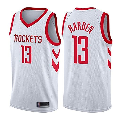 YZQ Uniformes De Baloncesto para Hombre, Houston Rockets # 13 James Harden NBA Verano Camisetas De Baloncesto Al Aire Libre Tops Casuales Deportes Chaleco Camisetas,Blanco,L(175~180CM)