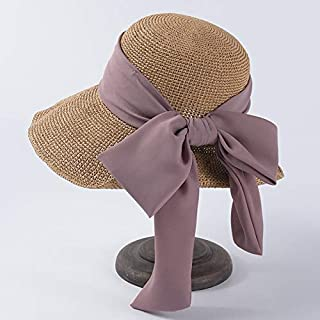 QinMei Zhou Spring and summer hat ladies big visor Korean version of chiffon bow straw hat sun protection sun hat folding beach hat