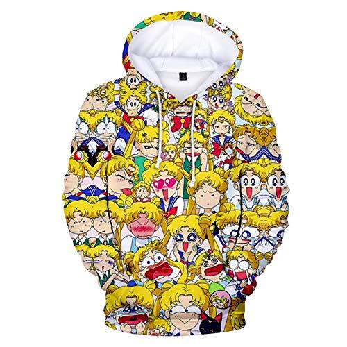 luozeshu Sailor Moon Hoodie Japan Harajuku Anime Gedruckt Cosplay Pullover Sweatshirt Outwear Kostüm für Mädchen Frauen