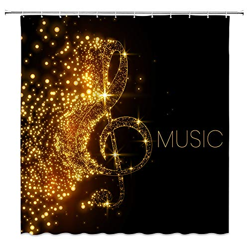 AMHNF Music Shower Curtain Abstract Gold Musical Note with Fallen Shiny Star Creative Art Painting Home Bathroom Decor Quick Dry Fabric Curtain with Hooks,Black Gold