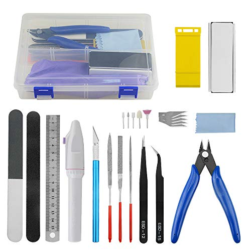 WMYCONGCONG 24 PCS Gundam Model Basic Tools Set Hobby Building Tools Kit with a Plastic Case for Professional Gundam Model Building, Repairing and Fixing