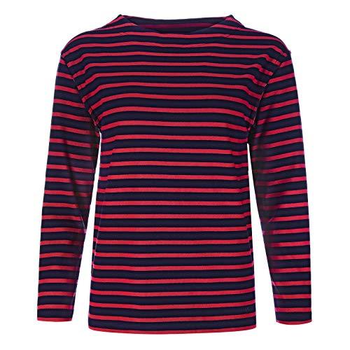 modAS Bretonisches Damen Fischerhemd Langarm Streifen Hemd blau/rot gestreift 2500D_13 Größe 44 (Damen) / 52 (Herren)