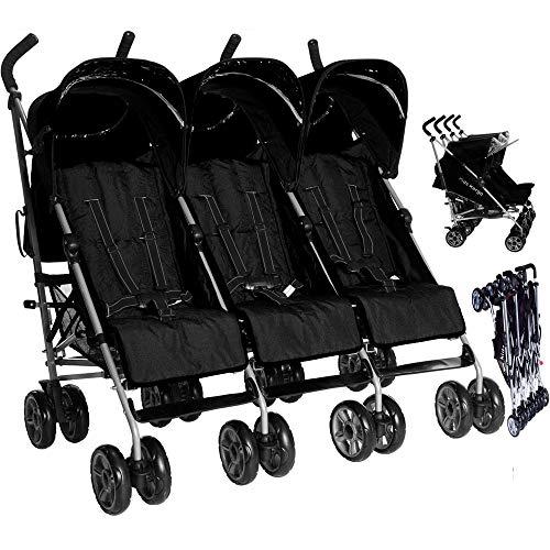 Kids Kargo Triple stroller birth-15kg per seat. Safety Reflectors, Umbrella fold, 3 visors & a rain cover. Midnight Black Pushchair