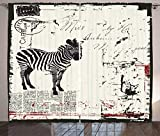 Ambesonne Grunge Curtains, Modern Textured Safari Animal Zebra on Retro Typographic Background Print, Living Room Bedroom Window Drapes 2 Panel Set, 108' X 96', Black Cream