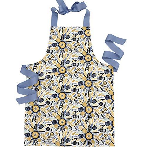 Handmade Mustard Blue Floral Tween Girl Apron Gift for Art Kitchen or Baking