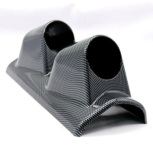 BEESCLOVER 52 mm Plastique Double Trou Carbone Lignes Pilier dosettes de jauge de Voiture comme Gauche Auto Volt Gauge Support Noir Pj-35968