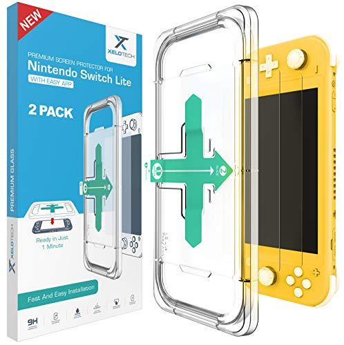 [2x Stück] XeloTech Schutzglas für Nintendo Switch Lite - Vollglas mit Schablone für perfekte Positionierung, Glas Folie, Panzerglasfolie, Displayschutzfolie, Panzerfolie