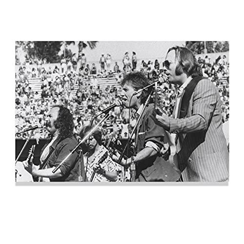 Poster sur toile vintage Crosby, Stills, Nash et Young Musique rock pour chambre à coucher, décoration de sport, paysage, bureau, décoration sans cadre, 50 × 75 cm