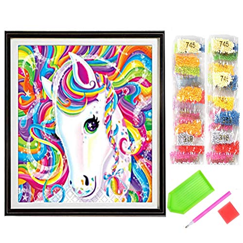 nuosen DIY 5D Diamond Painting Kit, Crystal Rhinestone Embroidery for Home Wall Decoration Pictures Arts Craft Gift, 11.8 * 11.8inch (Cute Horse)