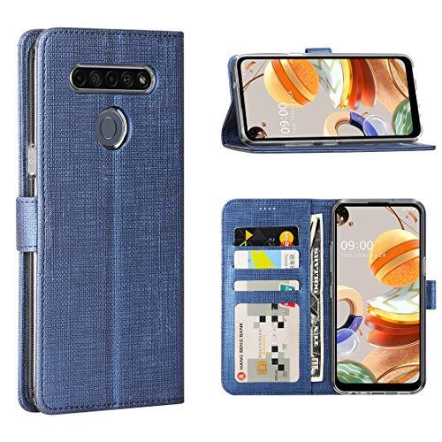 FUNMAX+ LG K61 Hülle, PU Leder Handyhülle mit 3 Kartenfächer, Schutzhülle Hülle Tasche Magnetverschluss Flip Cover Stoßfest für LG K61 Smartphone (Blau)