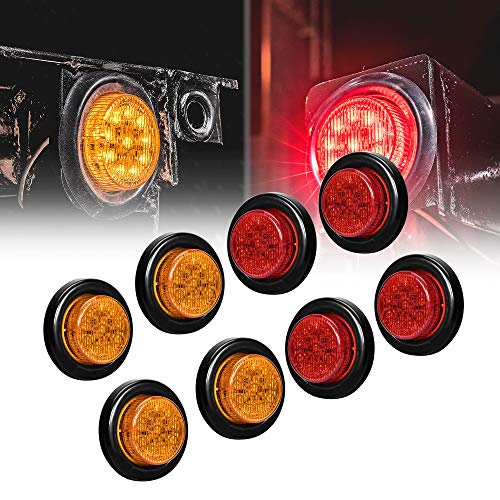 """8pc 2"""" Amber + Red Round Trailer LED Clearance Marker Lights [DOT Approved] [Reflector Lens] [Grommet] [Flush-Mount] [Waterproof IP67] Marker Clearance Lights for Trailer Truck"""