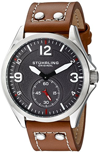 Stuhrling Original Men's Quartz Watch with Grey Dial Analogue Display and Brown Leather Strap 684. 02