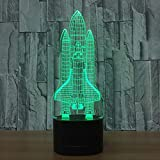 Rocket 3d Light Lamp Novelty Luminaria LED Table Lamps for Children Powerbank...