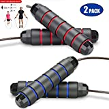Feeke Jump Rope Tangle-Free with Ball Bearing,Adjustable Jumping Ropes with 6 Memory Foam Handles Rapid Speed Jump Rope Cable for Men and Women and Children for Workout Exercise Fitness (2 Pack)