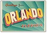 Imán para nevera de Orlando, Florida, diseño de ilustración turística vintage