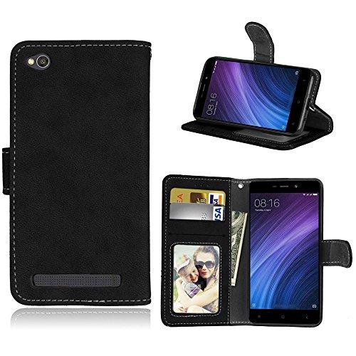 Funda Xiaomi Redmi 4A Case,Bookstyle 3 Card Slot PU Cuero cartera para TPU Silicone Case Cover(Negro)