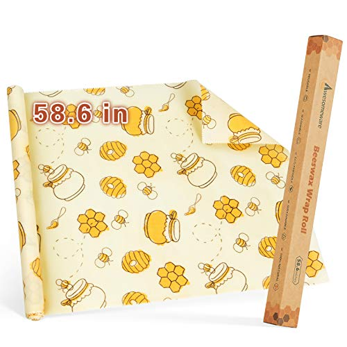 """Reusable Food Wraps Roll Beeswax Wraps, Eco Friendly Sustainable Reusable Paper Food Wraps For Sandwich, Cheese, Fruit, Bread, Snacks - Say Goodbye To Plastic Wrap(58.6"""")"""