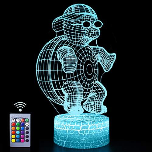 Kühle Schildkröte Nachtlichter 3D Vision Effekt LED Lampen Fernbedienung & 16 Farben Ändern Nachttisch Licht Kreative Party Geschenkideen für Festival Bday Events Beedroom Decor Wandleuchte