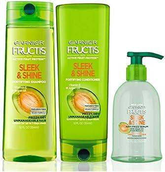 Set of 3 Garnier Fructis Sleek & Shine Shampoo, Conditioner & Serum