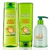 Garnier Fructis Sleek & Shine Shampoo, Conditioner & Anti-Frizz Serum, 5.1 Ounce (Set of 3)