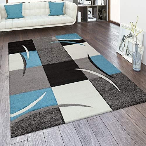 Alfombra Salón Tamaños Motivo Cuadros Rayas Diseño 3D Pelo Corto, tamaño:160x230 cm, Color:Turquesa