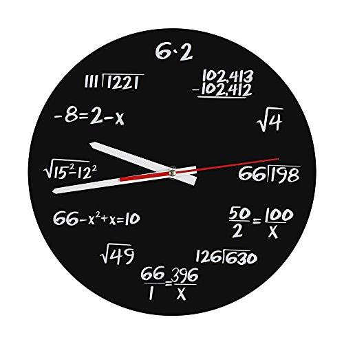 Zerodis Acryl Wanduhr kreative Mathe Wanduhr einzigartiger Entwurf Lustige mathematische Formel Uhr für Klassenzimmer Haus Moderne Dekoration des Büros