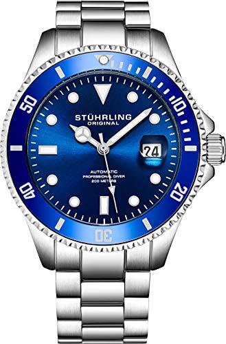 Stuhrling Original Ed. Ltd Reloj de Buceo Cuerda Automática para Hombre con Dial Azul Oscuro Resistente al Agua a 200M Unidireccional con Bisel Trinquete y Pulsera Acero Inox. Sólido, Corona De Rosca