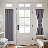 NICETOWN Blackout Front Door Curtain, Grey Curtains Thermal Insulated Sidelight French Door Privacy Panels for Window/Living Room/Sliding Door (25W by 72L inches, 1 Panel)
