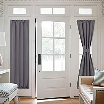 NICETOWN Door Curtain Panel Grey French Door Curtains Blackout Thermal Insulated Sidelight Door Privacy Panels for Window/Living Room/Doorways  25W by 72L inches 1 Panel