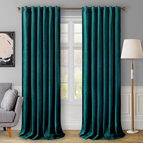 HOMEIDEAS Velvet Curtains Teal Blackout Curtains 52 X 108 Inches, 2 Panels Soft and Thick Room Darkening Curtains/Drapes, Thermal Insulated Pocket Back Tab Window Curtains for Living Room