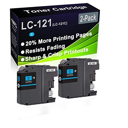 Paquete de 2 cartuchos de tinta remanufacturados de alto rendimiento LC-121 LC121 LC-121C para impresoras Brother DCP-J132W DCP-J152W MFP P57750DW MFP P55250DW