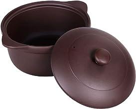 Handmade Ceramic Purple Clay Stockpot Cookware with Lid,Chinese Zisha Casserole Stockpot Purple 5.81quart