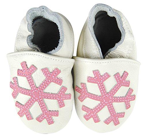 Axy bébé chaussons chaussures en cuir Chaussures bébé enfant Jardin Chaussures – Flocons de neige - Blanc - Weiß,