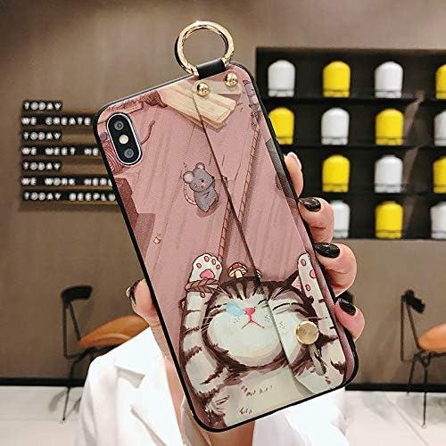 NiceGuu Phone Case for iPhone 7 8 Case for iPhone 11 Pro Max X XS Max XR 7 8 Plus Soft TPU Wrist Strap Phone Holder Case (Pink, for iPhone 7 8)